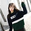 Pop coreano Suelta Sudadera Polar Mujeres Hechizo Color Patchwork Letras Impresas Sudaderas Harajuku Mujeres de La Moda Femenina Tops M-2XL