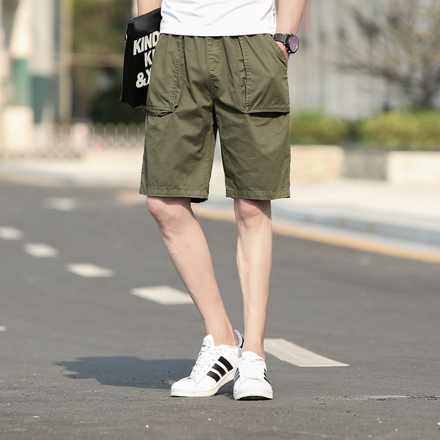 New Summer Cotton Casual Shorts For Men Pocket Straight Harem Soft Trousers Solid Army Green Black Khaki Blue Male Board Shorts