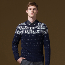 DANDY HOMME brand men clothing autumn winter long-sleeve men pullover sweaters knitwear christmas snowflakes slim fit jersey
