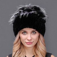 Hot Sale Thick Female Winter Knitted Fur Hat For Women Real Rex Rabbit Princess Cap With