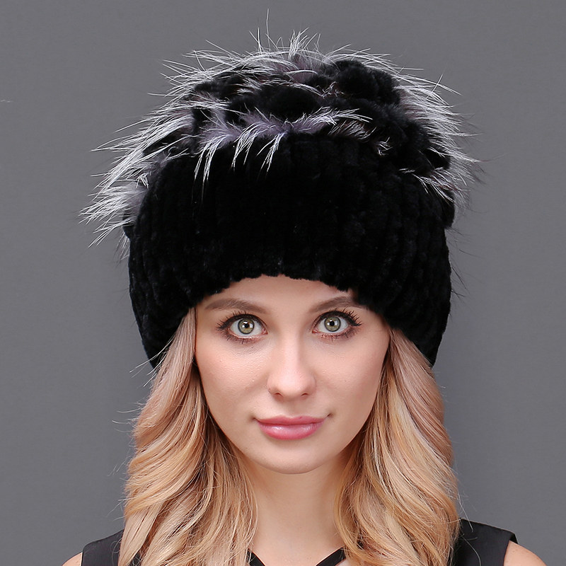Hot Sale Thick Female Winter Knitted Fur Hat For Women Real Rex Rabbit Princess Cap with Luxury Fox Fur Flower Hats