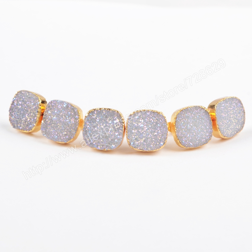 BOROSA 5Pair/lot Fashion Charm Gold Color 12mm Square Natural Titanium AB Color Crystal Druzy Geode Stud Earrings G0880