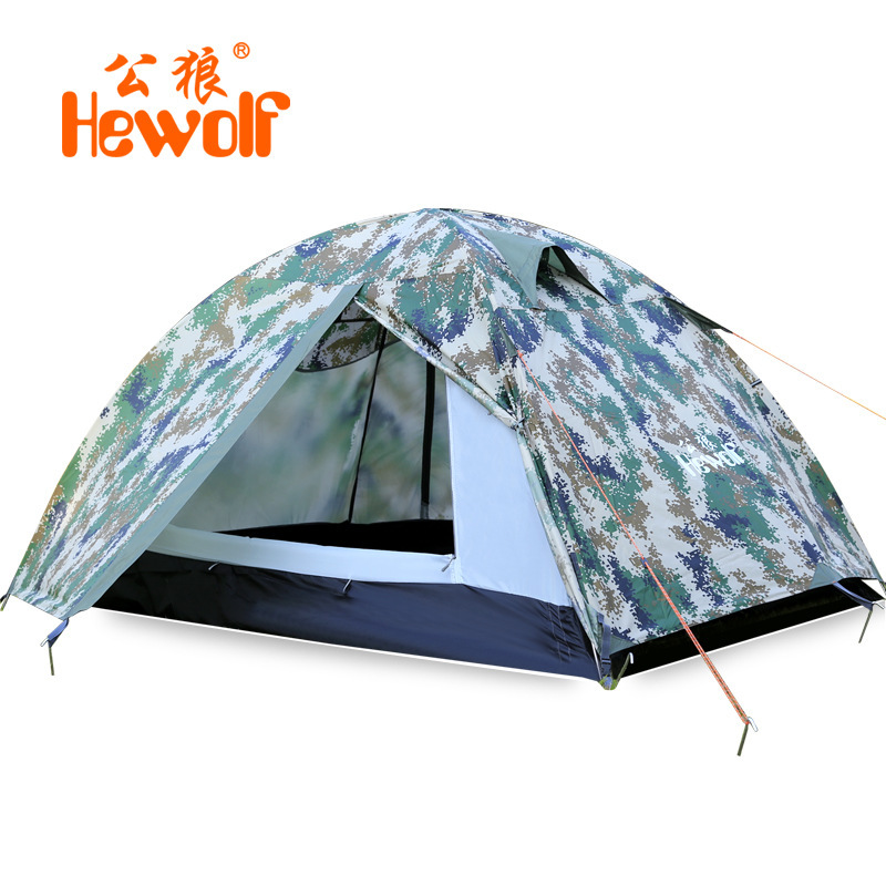 ФОТО Hewolf High quality 2.4kg super strong double layer aluminum rod camping tent