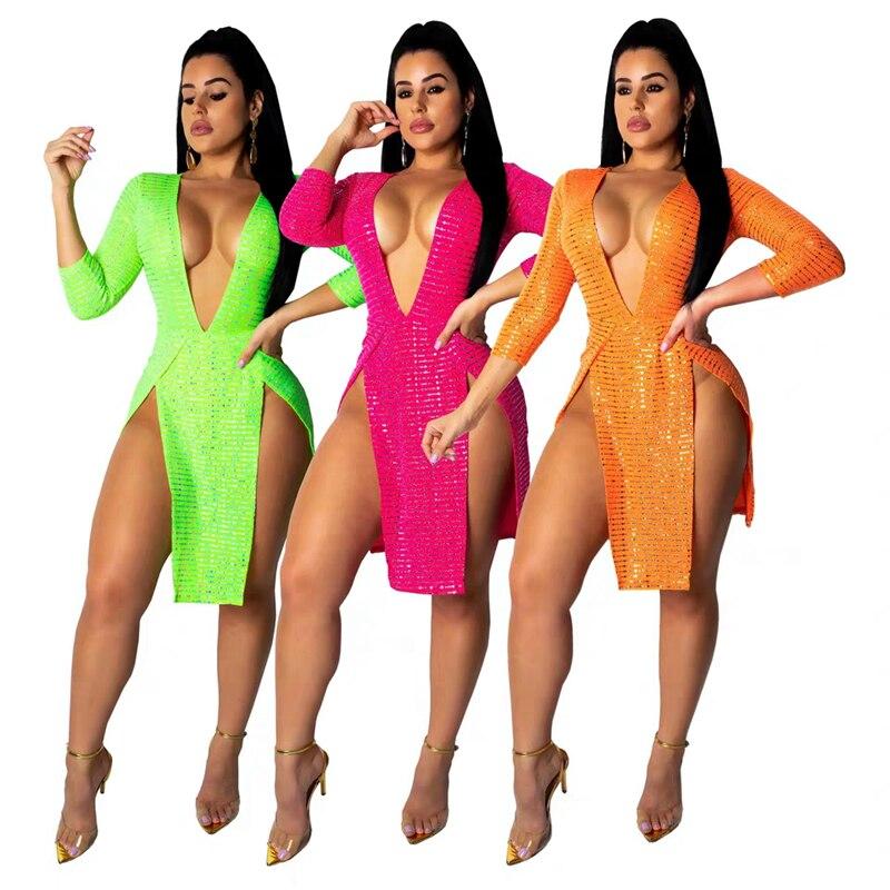 Nouveau Style 2019 mode à manches longues Sequin Orange Fuchsia néon vert Sexy Club robes col en V haut Spilt célébrité fête robes