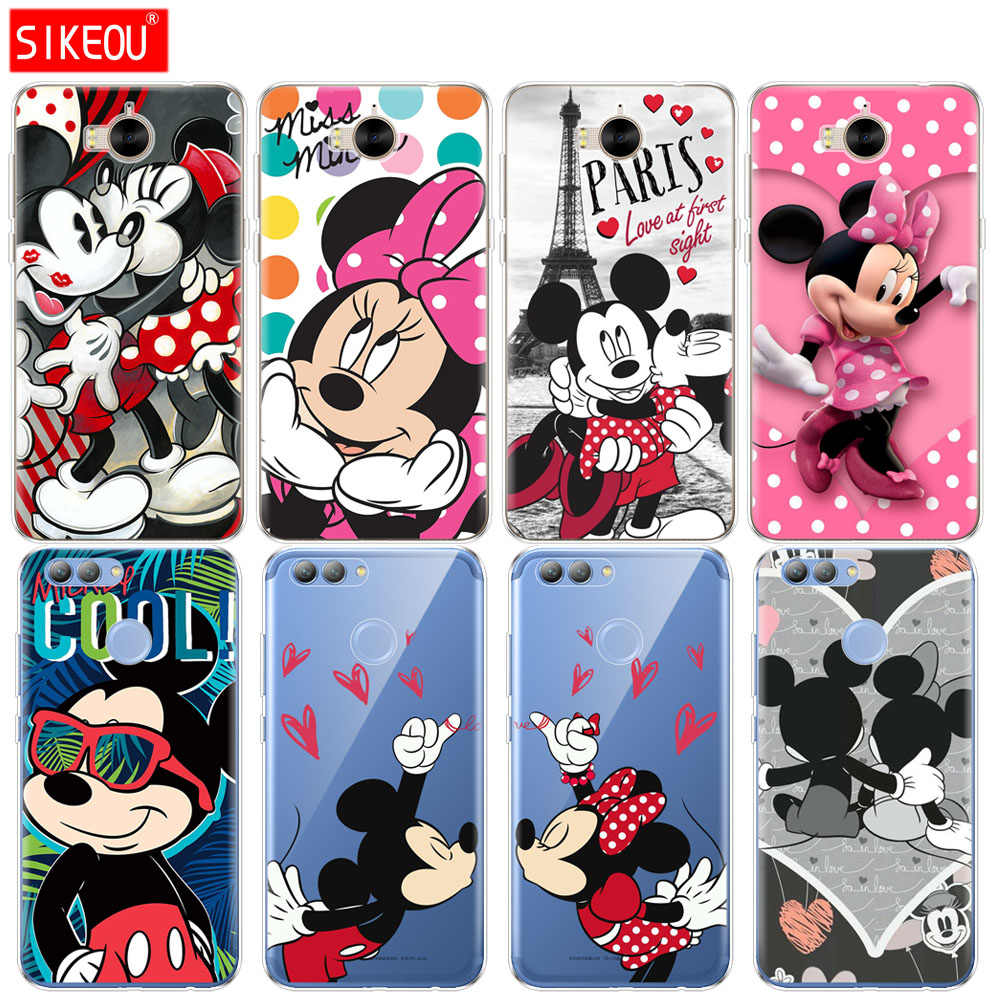 Silicone phone Cover Case for huawei Y3 Y6 Y5 2 II  2017 nova 3 3e 3i 2s 2 LITE plus cartoon mouse Mickey Minnie