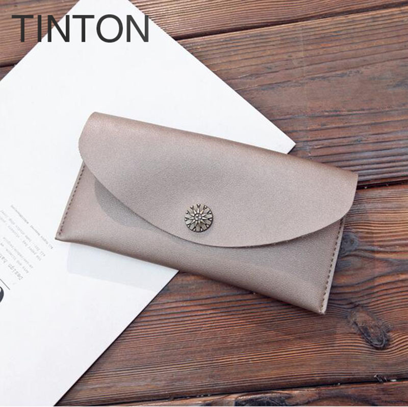 TINTON 2018 new ladies fashion purse PU leather solid color purse lady long simple wallet card bit personality coin purse hot