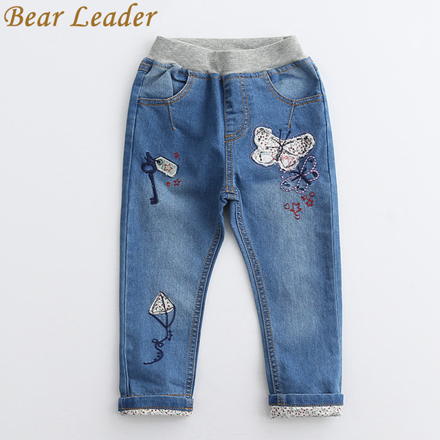 Bear Leader Children Jeans 2017 Spring Butterfly&Kites Patchworked Girl Jeans Pants Boys Trousers Midwaist Elastic Kids Leggings