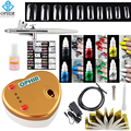 OPHIR Complete Airbrush Nail Art 0.3mm Airbrush Kit with Compressor 12 Nail Inks 10 Stencil 20 False Nail Beginner Set_OP-NA003