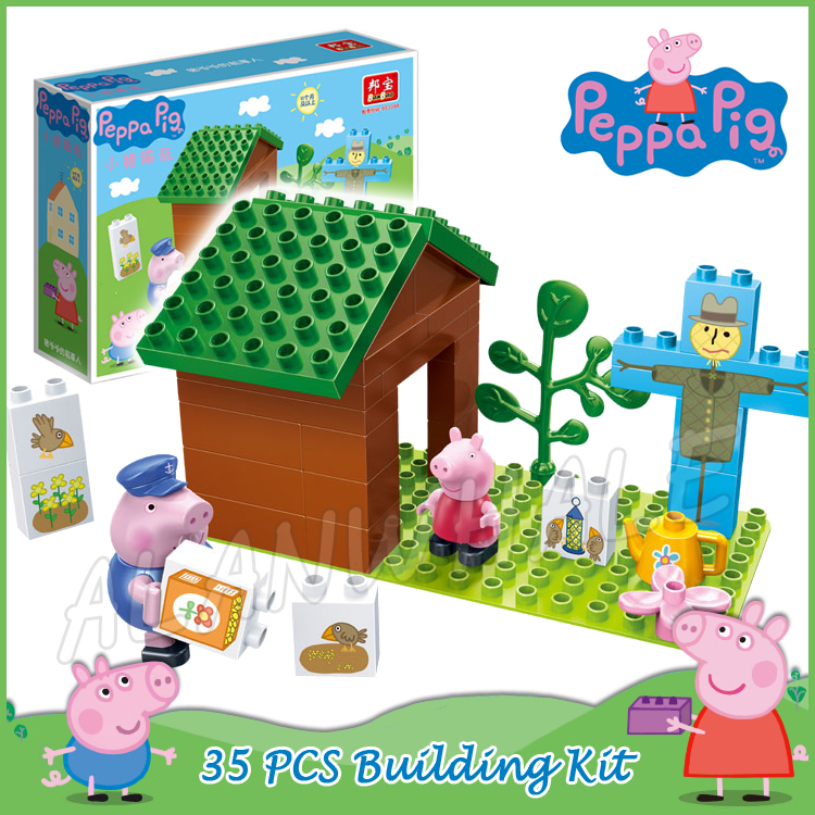 35pcs Peppa Grandpa Pig Farm Scarecrow Manor Model Building Action Figures Assemble Anim ...