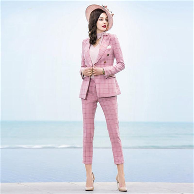 Осенний повседневный костюм в клетку комплект из двух частей Новый высокого класса темперамент дамы розовый костюм бизнес носить костюмы д