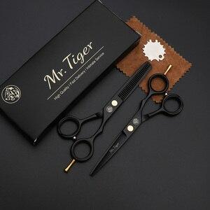 Image 2 - Tijeras japonesas negras para peluquería, conjunto de corte de pelo, 5,5, 6,0