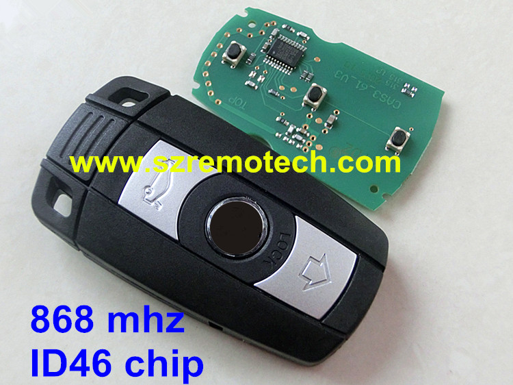 car key For bmw 3 button smart card 868mhz with electric transponder ID46 chip uncut smart