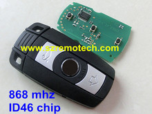 car key For bmw 3 button smart card 868mhz with electric transponder ID46 chip uncut smart key best price