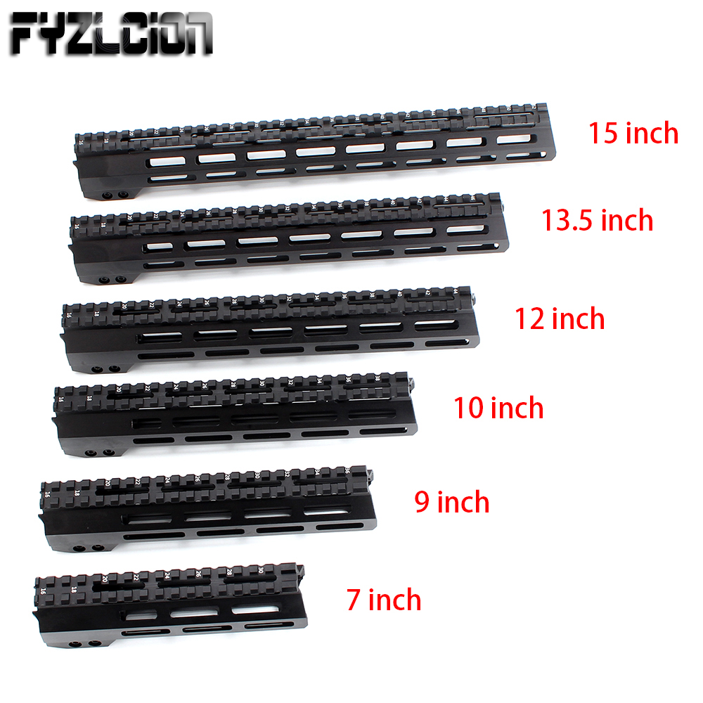 FYZCION 7/9/10/12/13.5/15/17inch AR15 Free Float M-LOK Handguard Picatinny Rail Slim Style with Steel Barrel Nut for Scope Mount