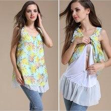 Chiffon verão Camisa de Enfermagem Amamentação Roupas de Maternidade As Mulheres Grávidas T-shirt Roupas Lactação Alimentação Blusa