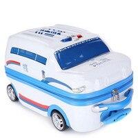 ГОРЯЧАЯ Детская мода прокатки багажные сумки детей школьный мультфильм автомобиль путешествия дело тележки милый ребенок carry on чемодан шко