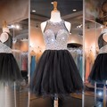 Sheer Beaded Crystals Short Black Homecoming Dresses Shinning Tulle Homecoming Dress Pretty Party Gowns Girls Prom Dresses HC75