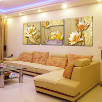 No Frame Pictures Canvas Paintings Wealth And Luxury Golden Flowers 3 Piece Art Picture Home Decor