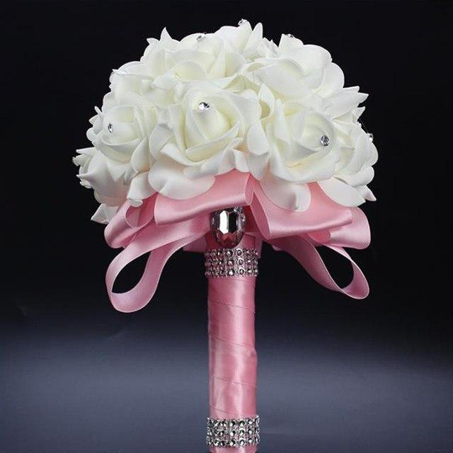 2017 Elegant Royal Blue Purple Red Fuchsia Rose Artificial Bridal Flowers Bride Bouquet Wedding Crystal Silk Ribbon