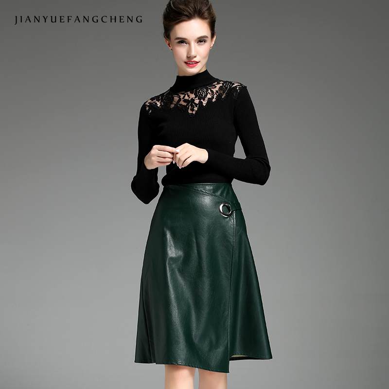 d93117a8ad8d 2018 PU Leather Skirts Women Plus Size Knee Length A Line Midi Skirt High  Waist Cheap Sexy Asymmetrical Solid Clor Skirt Jupe-in Skirts from Women s  ...
