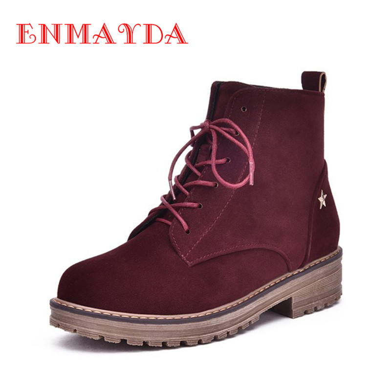 ФОТО ENMAYDA Fashion Boots Shoes Woman Flats Shoelace Black Shoes Spring Autumn & Winter Boots Size 34-43 Ankle Boots Zapatos Mujer