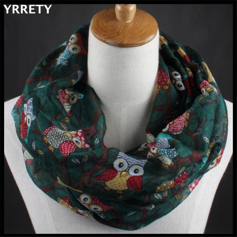 YRRETY Casual Women Ladies Scarf Owl Pattern Print Warm Girls Soft Ring Scarf Black Green And Gray Hot Fashion 2020 High Quality