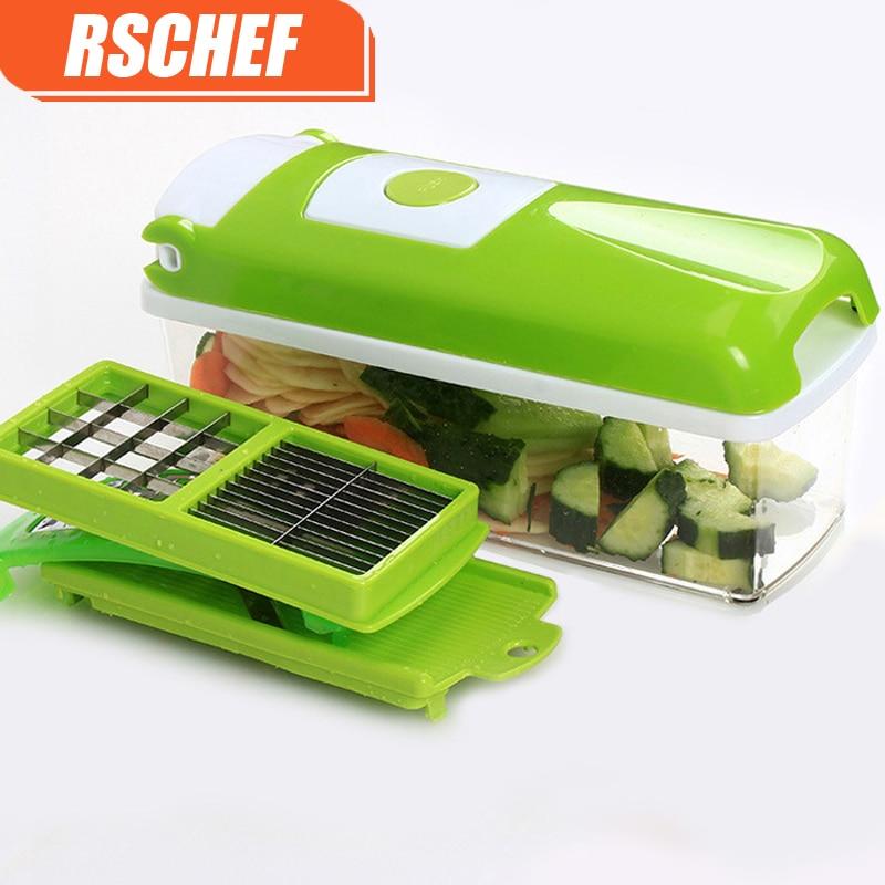 RSCHEF 12 Pz Multifunzione Shredder Frutta Verdura Pelapatate Patate Affettatrice Dicer Chopper Cutter Contenitore Facile Da Cucina Strumenti