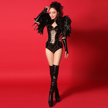 Black Feather Shoulder Dress Prom Wear Stage Performance Dance Dresses Crystal Bodysuit Clothing Set Sexy Fashion Costume