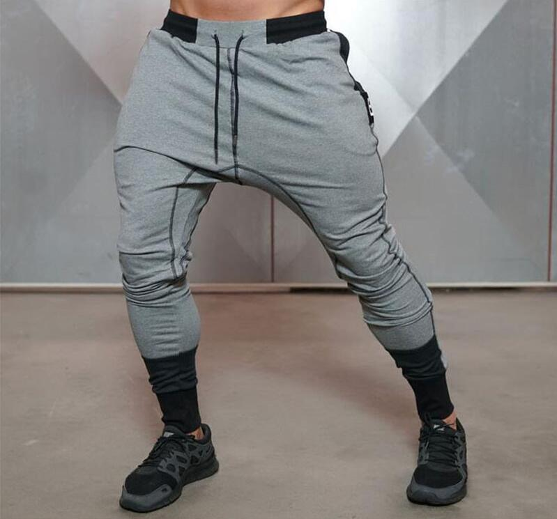 2019 Autumn New Big Zipper Sweatpants Men Solid Workout Bodybuilding Clothing Casual GYMS Fitness Joggers Pants Skinny Trousers