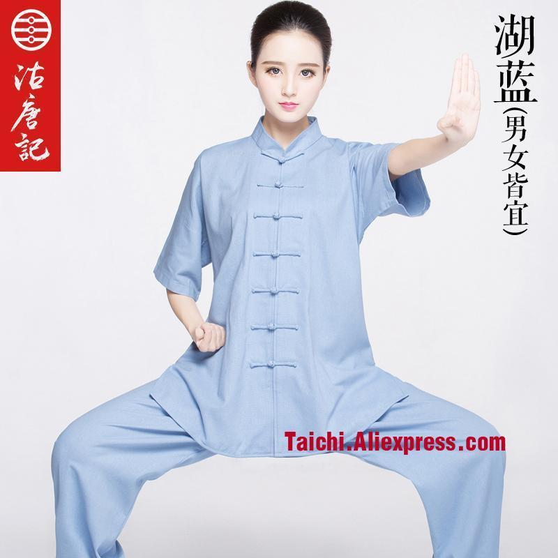 Summer Tai Chi Clothing Half Sleeve Cotton And Linen Tai Chi Suit  Men And Women Flax Kung Fu  Uniform Chinese Styl