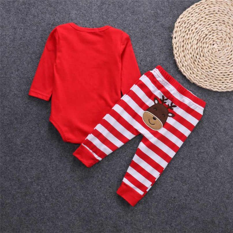 Красного цвета Модная Рождественская Одежда для новорожденных комплекты одежды для девочек, мальчиков, 2 вещи в комплекте; комбинезон с рисунком оленя + брюки для девочек комплект Горячая 2017 падение поставляется ST26