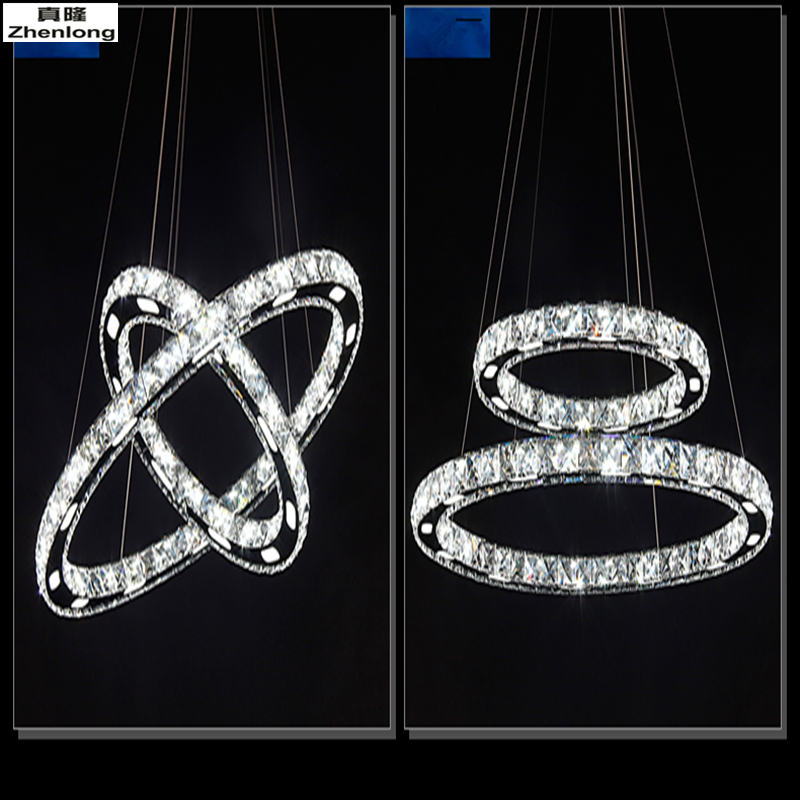 Modern Chrome Crystal Diamond Chandelier Stainless Steel Ring LED Lamp Hanging Fixtures Adjustable LED Crystal Chandelier led crystal chandelier lamp can be customized stainless steel restaurant