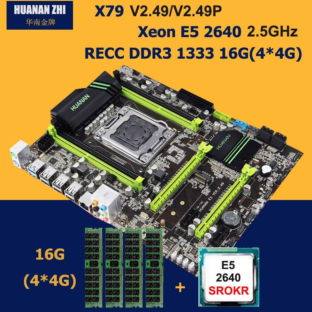 Edificio computadora HUANAN ZHI descuento X79 Placa base con M.2 ranura SSD NVMe CPU Intel Xeon E5 2640 de 2,5 GHz RAM 16G DDR3 RECC