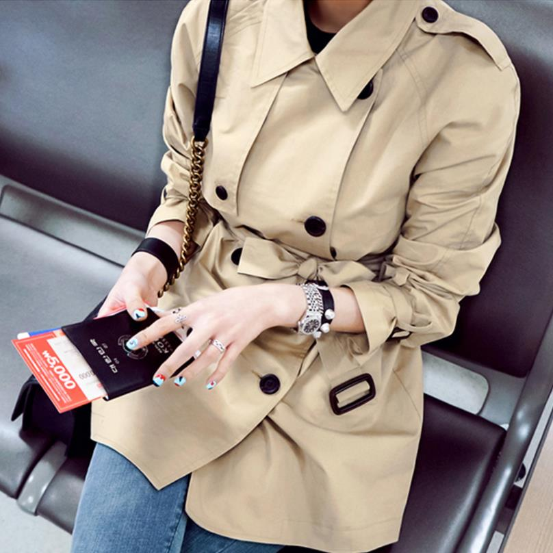 New Double Breasted Woman   Trench   Coat khaki   Trench   Coat long loose Business Outerwear