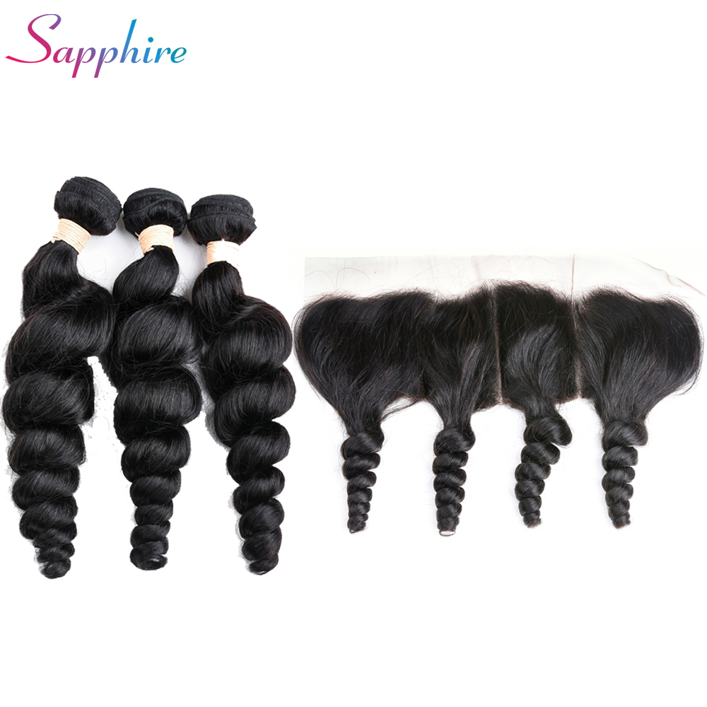 Sapphire Loose Wave 3 Bundles With Frontal Closure Peruvian Hair Weave Bundles with 13x4 Ear To Ear Lace Frontal Non Remy Hair