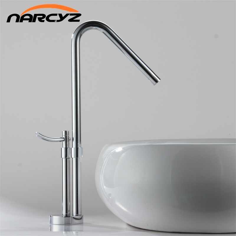 Newest contemporary design solid brass bathroom faucet tall polished sink faucets tall waterfall basin side faucet