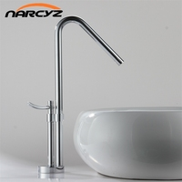 Newest Contemporary Design Solid Brass Bathroom Faucet Tall Polished Sink Faucets Tall Waterfall Basin Side FaucetXR801B