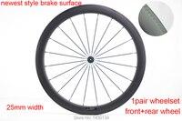 Neueste bremse oberfläche 50mm Straße fahrrad glänzend matt UD full carbon fiber bike klammer felgen carbon laufradsatz 25mm breite Freies schiff