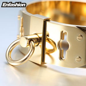 Image 4 - Enfashion Jewelry Circle Ring Wide Cuff Bracelet Noeud armband Gold color Bangle Bracelet For Women Bracelets Manchette Bangles