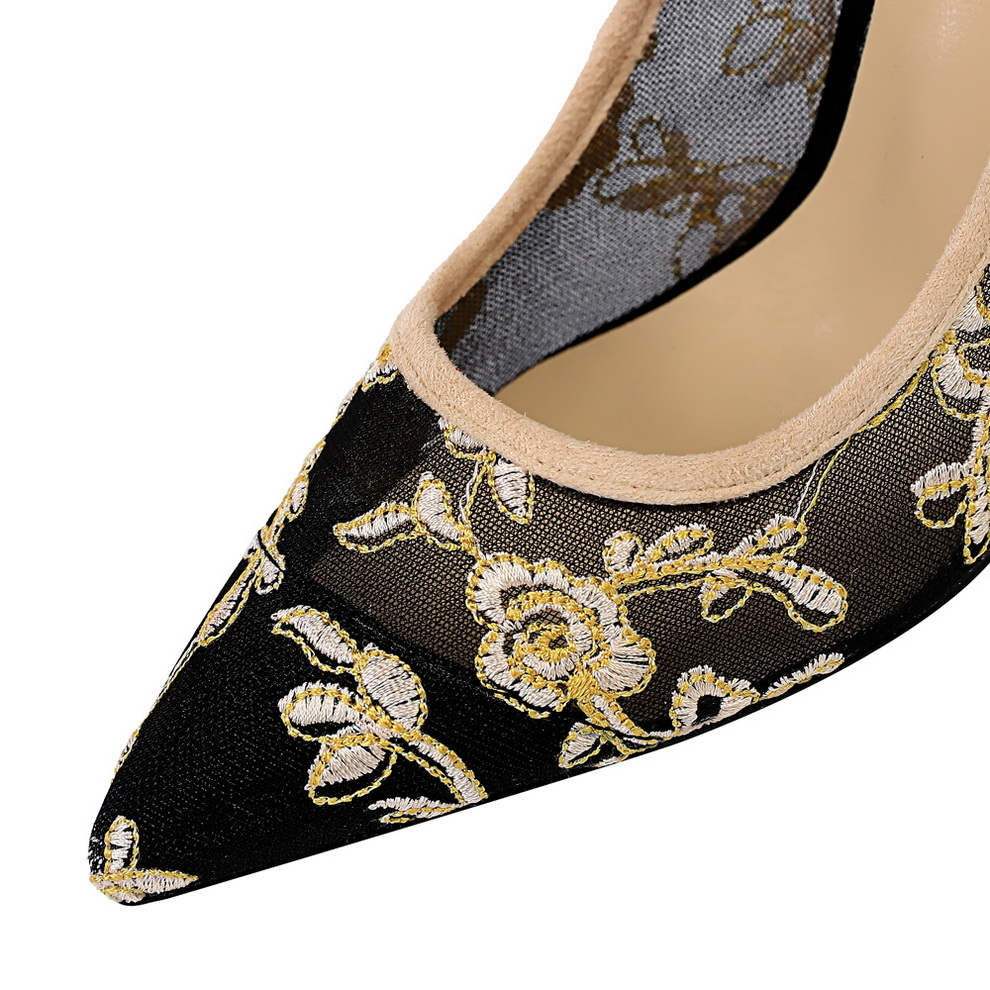Luxury Thin Lace Floral Embroider Hollow women shoes spring autumn Pumps High Heels Red Black White Casual Wedding Shoes in Women 39 s Pumps from Shoes