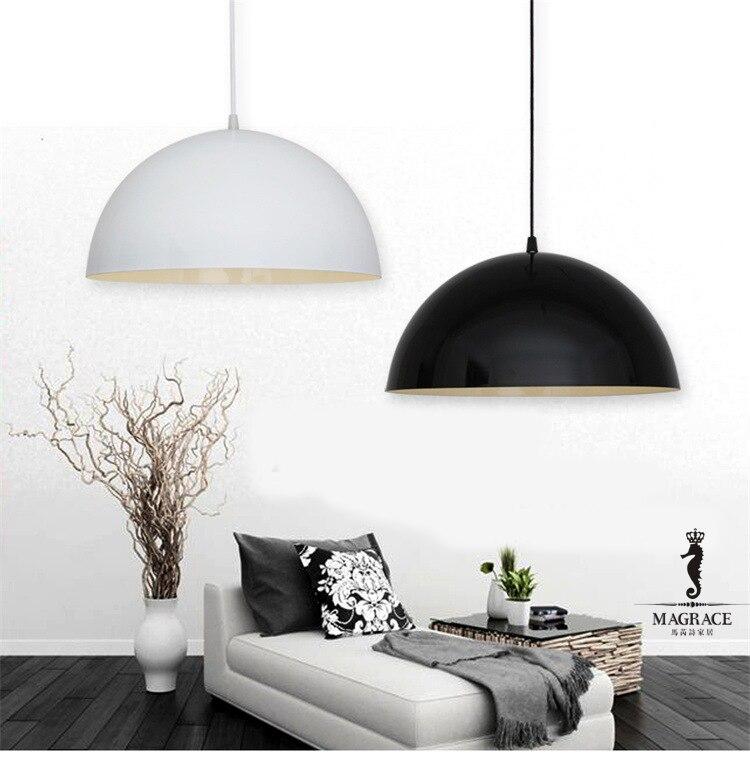 Dia.30cm E27 Aluminum Modern Nordic Style Black&White Pendant  Lamp Decoration Droplight Lamp For Bedroom Living Room e cap aluminum 16v 22 2200uf electrolytic capacitors pack for diy project white 9 x 10 pcs