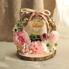 1pcs Wreath cushion engagement custom name double bearer rings box personalized Rustic Flower style Ring Pillow