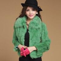 Spring Autumn Women's Genuine Natural Spliced Rabbit Fur Jacket Fox Fur Collar Lady Short Coats Outerwear VF0504