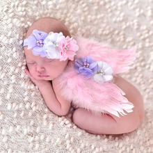 new Cute  Newborn Pink Angel Feather Wings&Headband Costume Photo Prop Outfit for gift wy0035