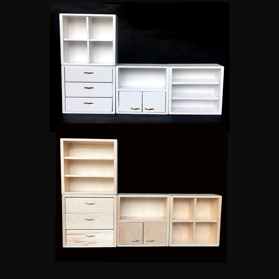 Diret 1//12 Dollhouse Miniature Furniture Multifunction Wood Cabinet Bookcase