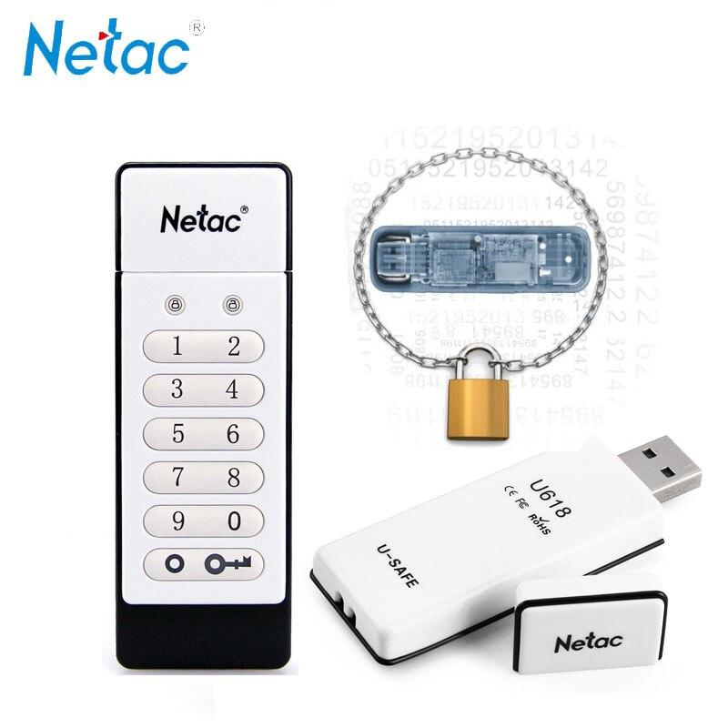 Netac Keyboard Encrypted USB Flash Drive 16GB 32GB 64GB USB2.0 Hardware Encryption Pendrive U618 U-SAFE Memory Stick U Disk 32 G