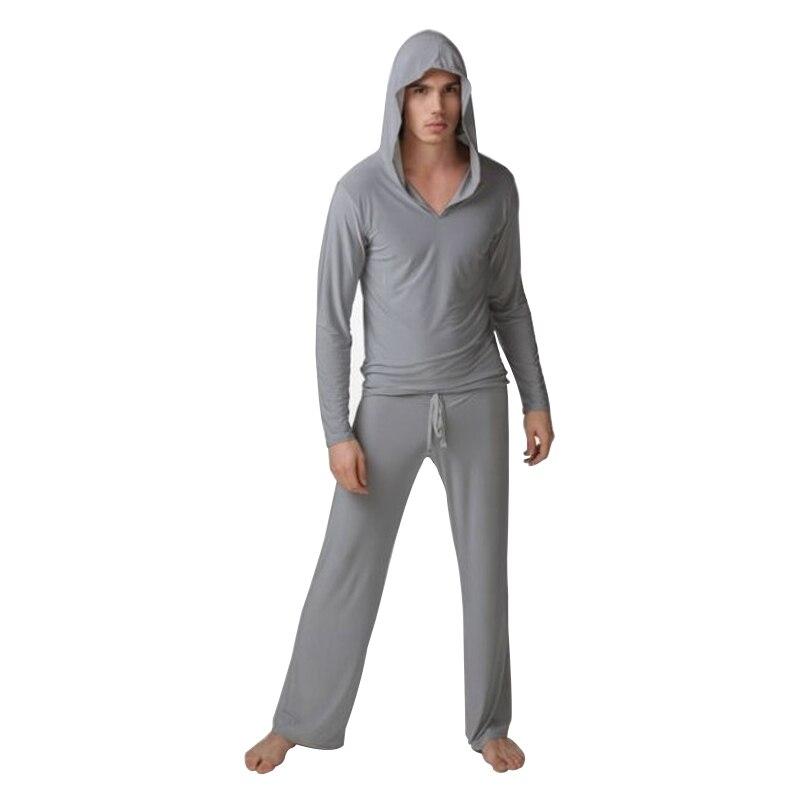 Sweater Night-Bath Sleepwear Pants Pyjamas Ice-Silk Men's Home Causal Tops Twinset Fabric