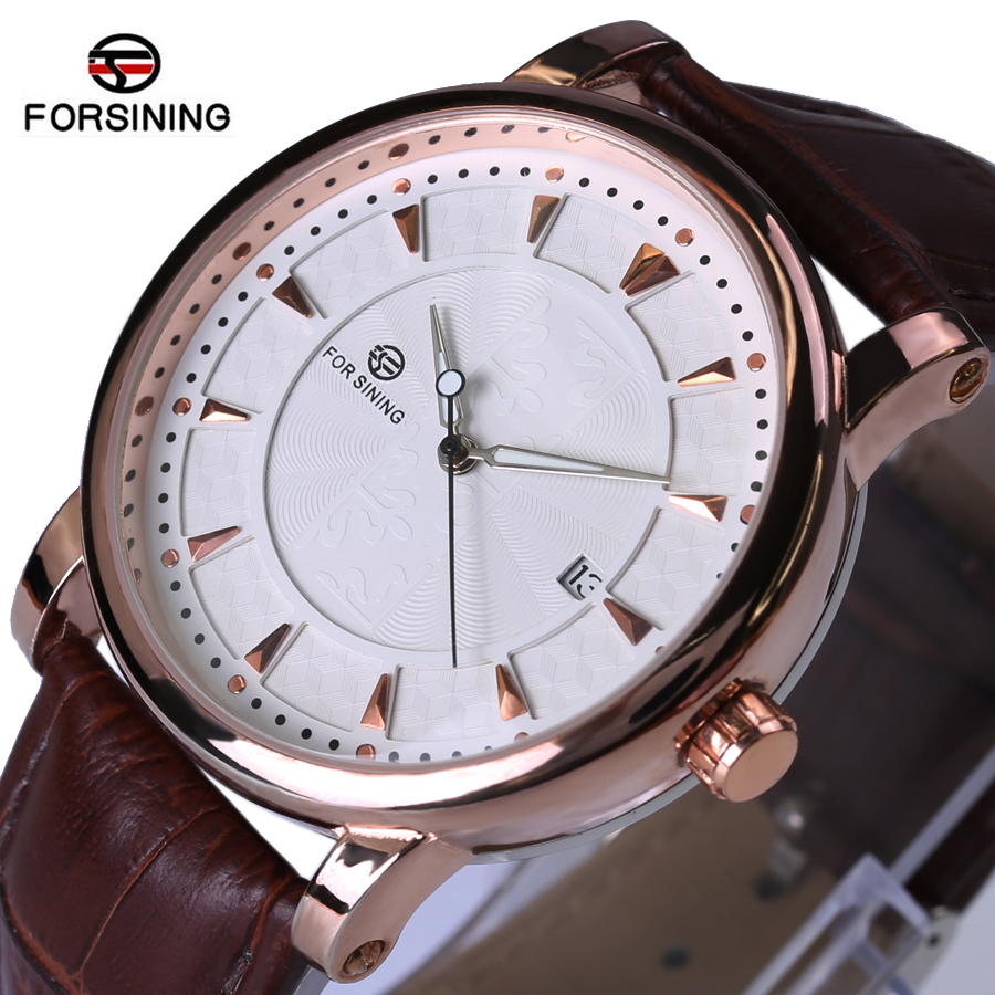 где купить  Forsining Watches Classic Mens AUTO Date automatic Mechanical Watch Self-Winding Analog Skeleton Brown Leather Man Wristwatch  по лучшей цене