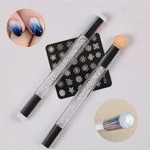 ฟองน้ำซิลิโคนStamperหัวเล็บGradientแปรงจิตรกรรมปากกาDottingคู่เคล็ดลับDIY Rhinestone Handle Manicure Tool