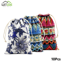 10pcs/lot Chinese Style Handmade Cotton Linen Storage Package Bag Drawstring Small Coin Purse Women Cloth Gift Pouches